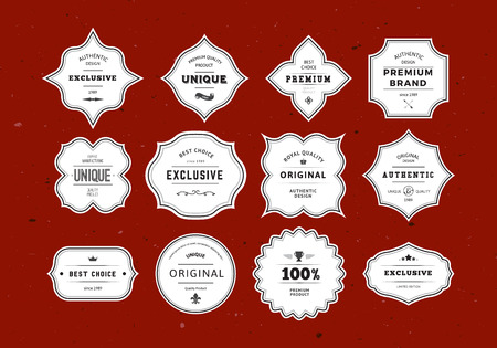 Illustration for Grunge Retro Labels Set. Vintage Vector Design Elements for Packaging, Identity, Logos, Labels and Badges. - Royalty Free Image