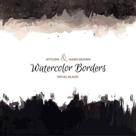 Illustration pour Black Watercolor Hand Drawn Borders. Vector Dark Backgrounds. Grunge Paintbrush Texture. - image libre de droit