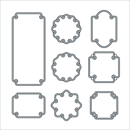 Illustration pour Set of 8 Isolated Graceful Frames. Vector Decorative Ornament Lines. - image libre de droit
