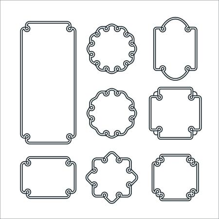 Ilustración de Set of 8 Isolated Graceful Frames. Vector Decorative Ornament Lines. - Imagen libre de derechos