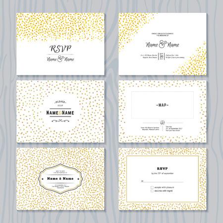 Illustration pour RSVP Cards Set with Gold Confetti Borders. Vector Wedding Invitations Design. - image libre de droit