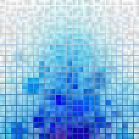 Illustration for Abstract Mosaic Cloud. Vector Pixel Paint Background. Blue and White Illustration for Banner, Card, Poster, Identity, Web Design. - Royalty Free Image