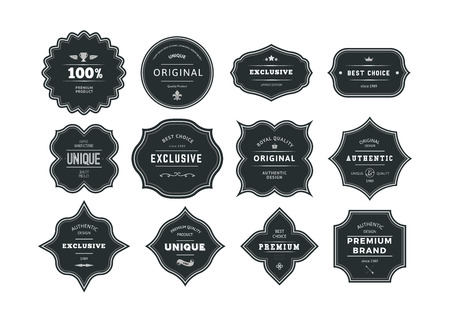 Illustration for Set of Retro Styled Black Labels with Frames. Vector Classic Isolated Decorative Tags. - Royalty Free Image