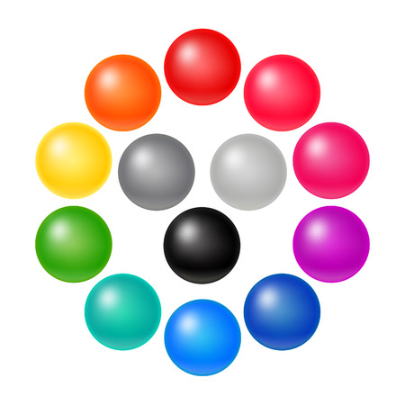 Illustration pour Set of Many Colorful Balloons. Vector Rainbow Matte Orbs. 3D Spectrum Buttons. - image libre de droit