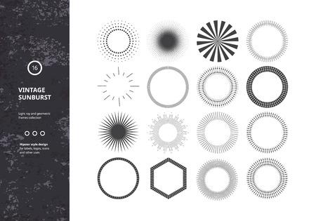 Ilustración de Set of Vintage Sunbursts. Vector Design Elements for Hipster Logos, Badges and Labels. Trendy Light Ray Symbols. - Imagen libre de derechos