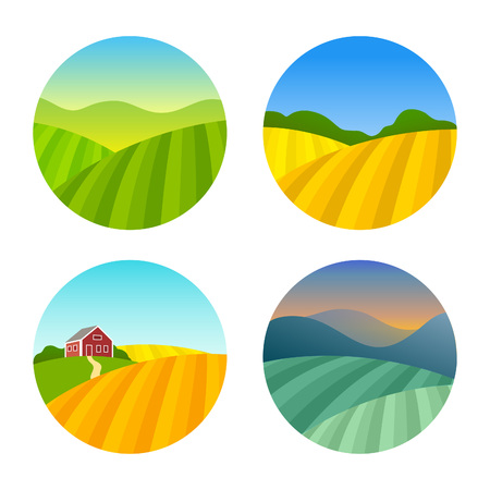 Illustration pour Set of Farm Fields Landscapes. Rural Farmhouse on Grasses Fields with Mountains. Agriculture in Village Illustrations. - image libre de droit