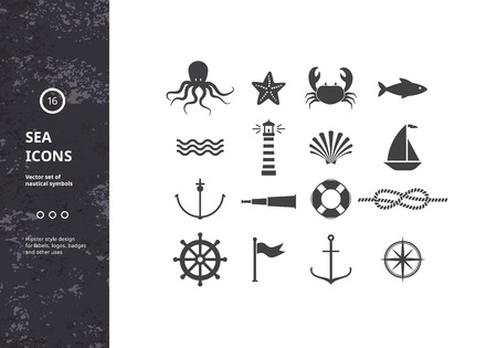 Illustration pour Vector Set of Nautical Icons. Sea Symbols Silhouettes. Hipster Style Design for Labels, Logos, Badges and Packaging. - image libre de droit