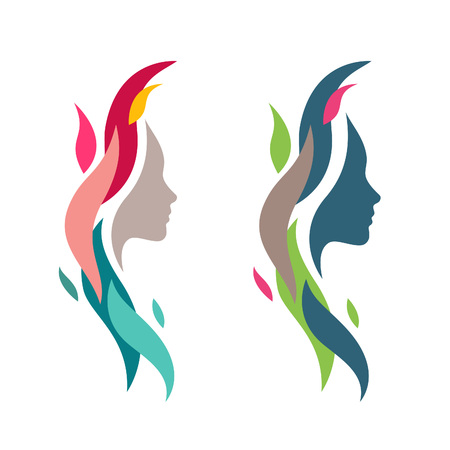 Illustration pour Colorful Woman Face with Waves. Abstract Female Head Silhouette for Logos and Icons Elements. Nature Cosmetics Symbol Concept. - image libre de droit
