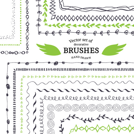 Ilustración de Vector Decorative Scribble Paintbrushes with Inner and Outer Corners. Hand Drawn Ink Brushes. Seamless Whimsical Borders for Patterned Frames. - Imagen libre de derechos