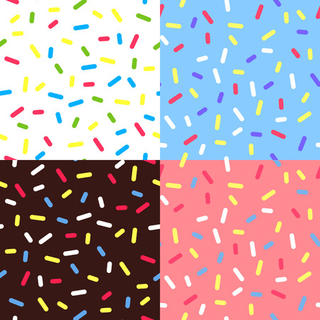 Illustration pour Set of  Colorful Glaze Backgrounds. Seamless Pattern with Sprinkles. Donut Glaze Illustrations. Sweet Food Texture. Random Confetti Bg. - image libre de droit