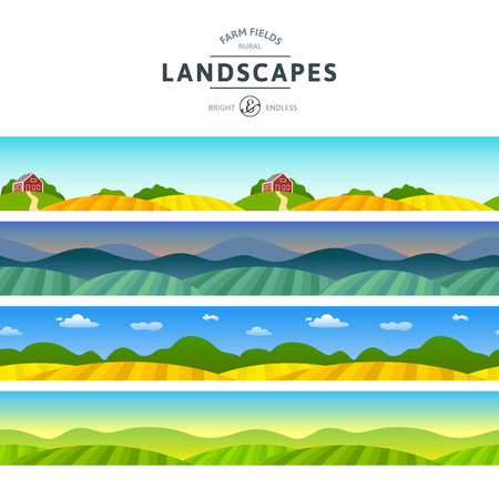 Illustration pour Set of Farm Fields Landscapes. Rural Horizontal Views. Agriculture in Village Illustrations for Banners and Packaging. - image libre de droit