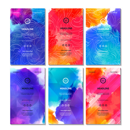 Ilustración de Set of Bright Colorful Cards. Vector Decorative Backgrounds. Vibrant Bg Texture for Business Cards, Web Banners, Invitation Cards, Party Posters and Advertisement Flyers. - Imagen libre de derechos
