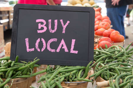 Buy Local Chalkboard Sign With Bushels of Green Beans, Tomatoes and Onions For Sale at the Farmers Market
