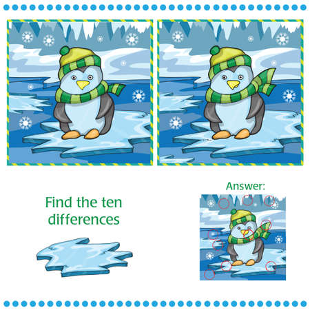 Illustration pour Find differences between the two images - penguin on ice background - Vector illustration - image libre de droit