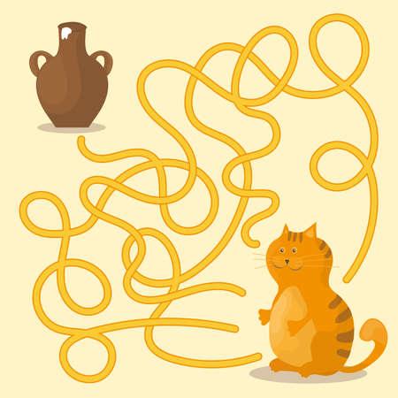 Illustrazione per Cartoon vector, maze or labyrinth game for preschool children with cat and milk. - Immagini Royalty Free