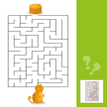 Ilustración de Cartoon of Paths or Maze Puzzle Activity Game with Kitten and Pancakes - Imagen libre de derechos
