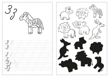 Ilustración de Set of tracing worksheet with animal illustrations - Imagen libre de derechos