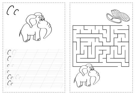 Ilustración de Letters on a tracing worksheet with a maze and elephants - Imagen libre de derechos