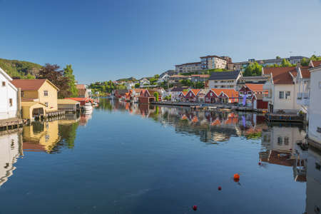 Photo for Flekkefjord reflections in the water in its little harbor - Royalty Free Image