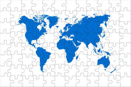 High quality puzzle world map image over a white background