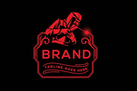 Ilustración de Welding company badge logo design - Imagen libre de derechos