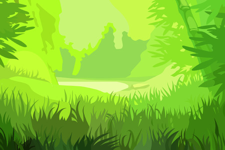 Illustration pour cartoon background bright green field in the bamboo forest - image libre de droit