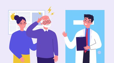 Illustration pour Senior man going to doctor because of migraine. Physician consulting patient in pain flat vector illustration. Depression and headache concept for banner, website design or landing web page - image libre de droit