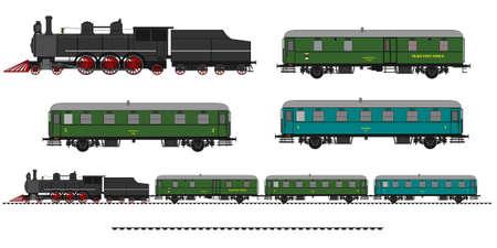 Illustration pour A side illustration of vintage train. Kit contain: steam locomotive, post car, personal car, tracks - image libre de droit