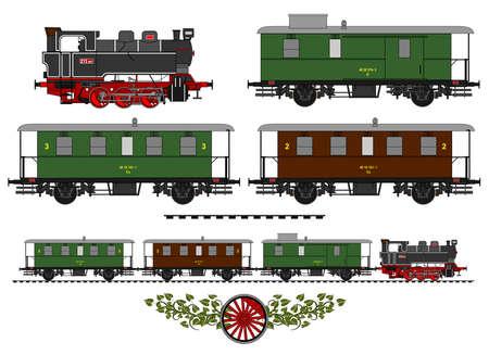 Ilustración de A side illustration of vintage train. - Imagen libre de derechos
