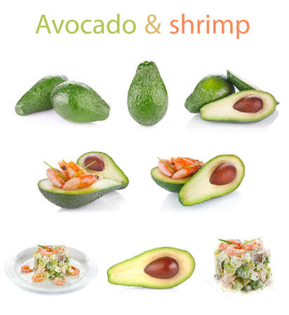 set fresh avocado with shrimp isolated on white background