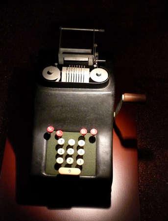 portrait of old vintage calculator