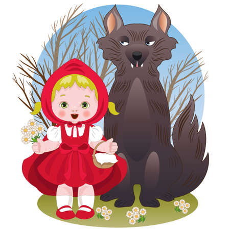 Illustrazione per Little red riding hood with the wolf - Immagini Royalty Free