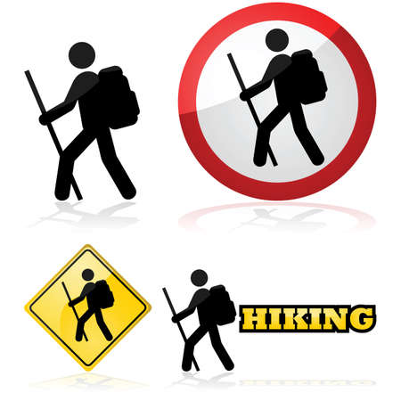 Illustration pour Icon set showing a man hiking carrying a backpack and a stick - image libre de droit