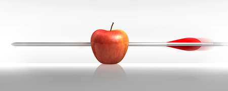 Foto de red apple struck by an arrow, the white background - Imagen libre de derechos