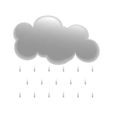 Grey Cloud Icon With Rain Dropping