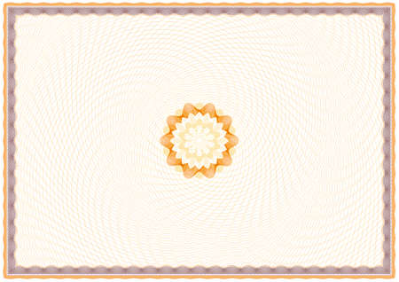 Illustration pour Guilloche Background for Certificate or Diploma (background, frame and rosette) - image libre de droit