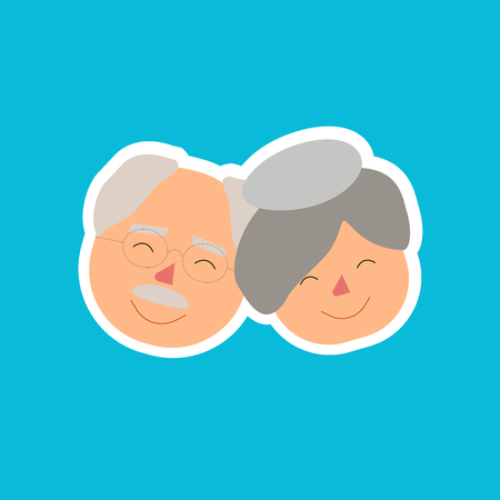 Ilustración de Grand Parents Day Illustration Faces Together - Imagen libre de derechos