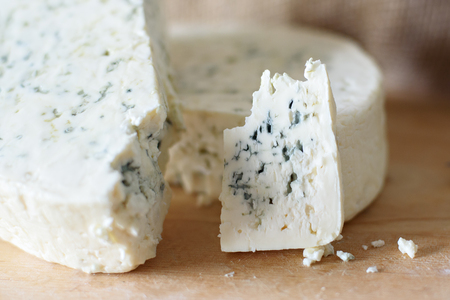 Photo for Whole truckle of stilton cheese viewed from above. - Royalty Free Image