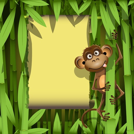 illustration, a brown monkey in the jungle