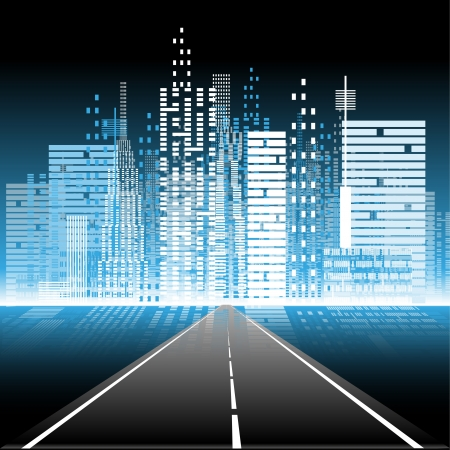Illustration pour illustration the road to the city nightlife - image libre de droit
