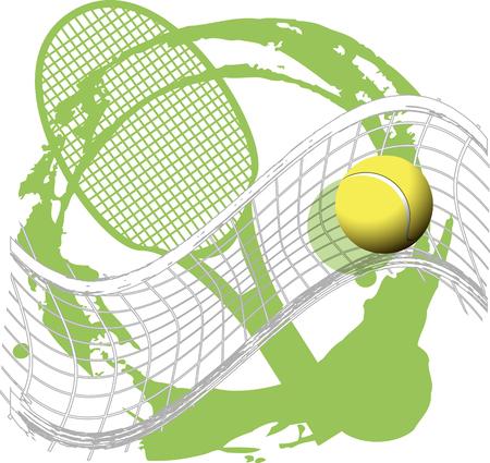 Ilustración de illustration tennis ball on abstract green background - Imagen libre de derechos