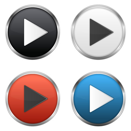 Illustration pour Metallic play buttons set,  vector eps10 illustration - image libre de droit