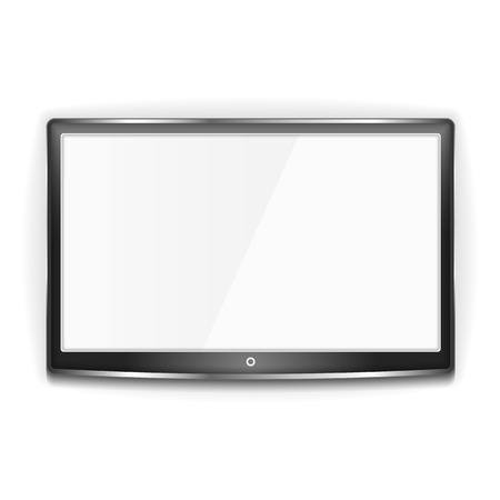 Illustration pour Black LCD TV with metallic frame and white screen on white background - image libre de droit