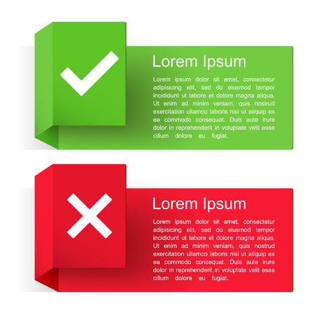 Illustration pour Banners with check and cross symbols, vector eps10 illustration - image libre de droit