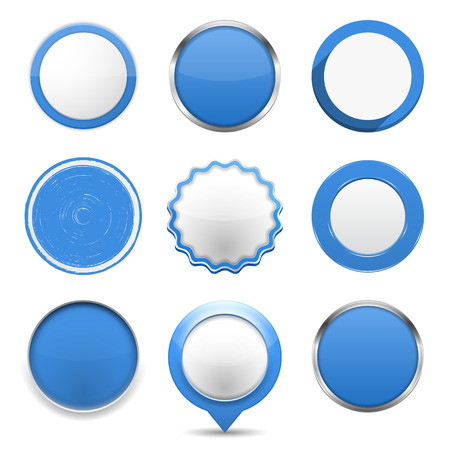Illustration pour Set of blue round buttons on white background - image libre de droit