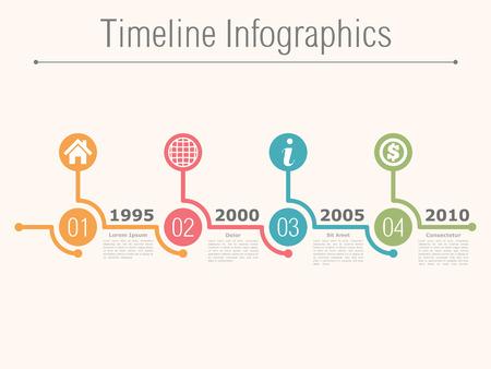 Ilustración de Timeline infographics design template with numbers - Imagen libre de derechos