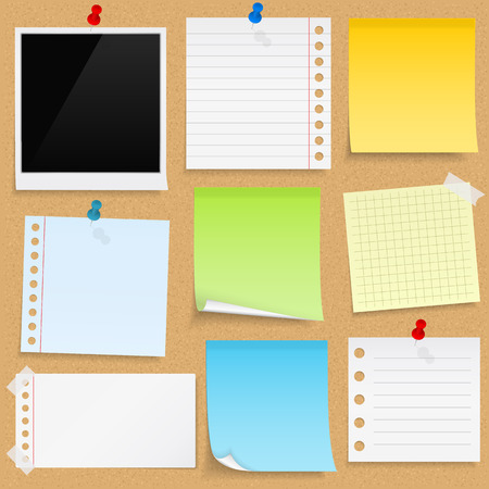 Illustration pour Paper notes, sticky papers an photo frames on bulletin board - image libre de droit