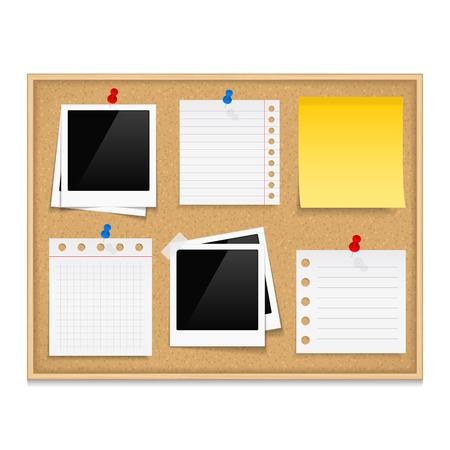 Ilustración de Bulletin board with photos and paper notes - Imagen libre de derechos