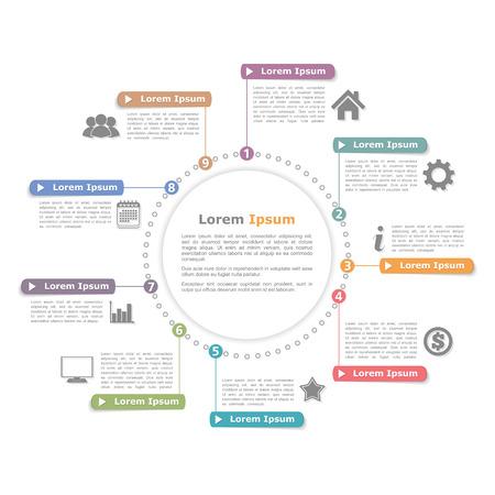 Ilustración de Circle infographics template with numbers, process diagram - Imagen libre de derechos