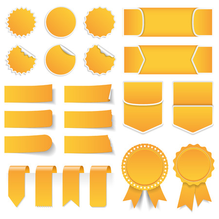 Illustration pour Yellow price tags stickers labels banners and ribbons - image libre de droit